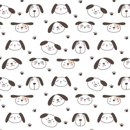 Hand Drawn Cute Dogs Pattern Background. Vector Illustration. Illusztráció