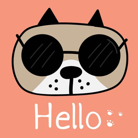 Cool Dog With Say Hello. Vector Illustration Background.