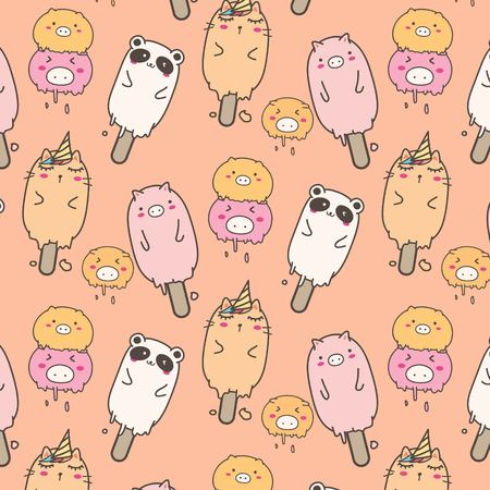 Cute Animal Ice Cream Pattern Background. Hand Drawn Vector Illustration. 일러스트