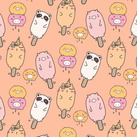 Cute Animal Ice Cream Pattern Background. Hand Drawn Vector Illustration. Illustration