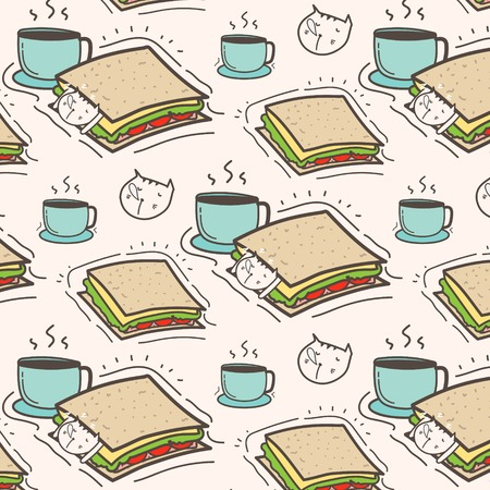Cute Cat Sandwich And Coffee Pattern Background. Vector Illustration. Ilustração