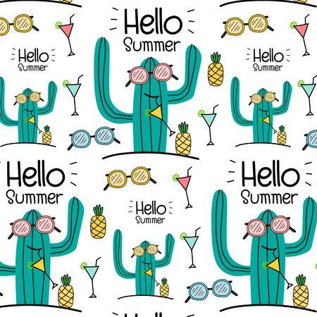 Hello Summer Vector Pattern Background. Vector Illustration.