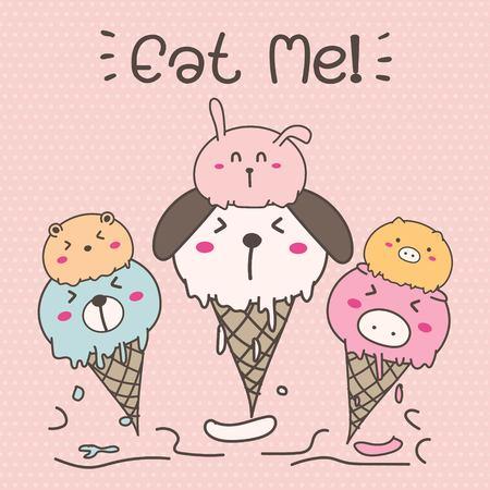 Cute Animal Ice Cream. Hand Drawn Vector Illustration. Illustration