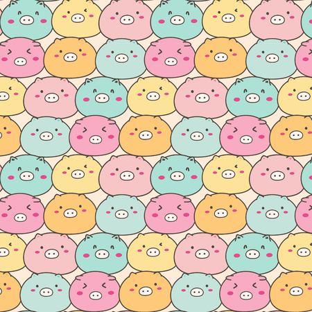 Cute Pig Vector Pattern Background. Handmade Vector Illustration. Illustration