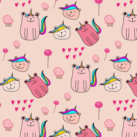 Cute Bear Unicorn Pattern Background. Vector Illustration. 일러스트