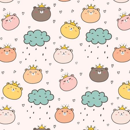 King Bear Pattern Background For Kids. Vector Illustration. 일러스트