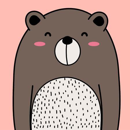 Cool Bear Vector Illustration Background.