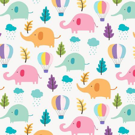 Cute Elephant Pattern Background For Kids. Vector Illustration.