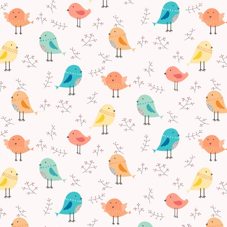 Hand Drawn Cute Bird And Floral Pattern Background. Vector Illustration.