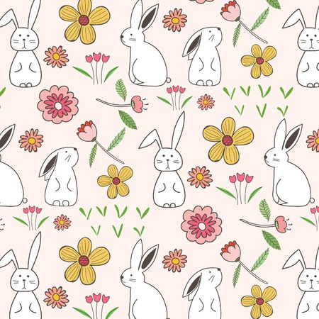 Rabbit And Flower Pattern Background. Vector Illustration. Illustration