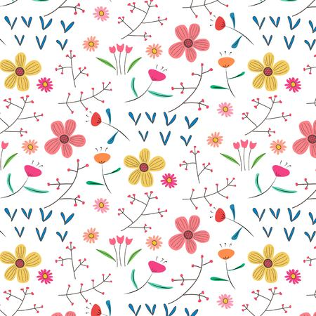 Hand Drawn Floral Pattern Background. Vector Illustration. Illustration