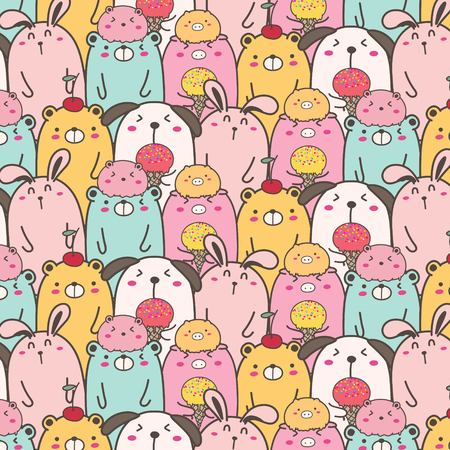 Cute Animal Vector Pattern Background. Fun Doodle. Handmade Vector Illustration. Ilustrace