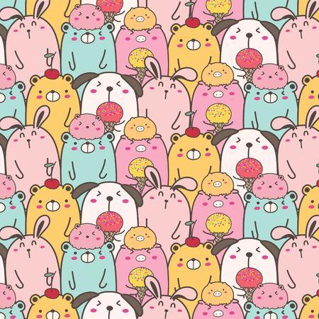 Cute Animal Vector Pattern Background. Fun Doodle. Handmade Vector Illustration. Illustration