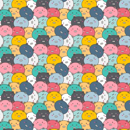 Cute Bears Vector Pattern Background. Fun Doodle. Handmade Vector Illustration. Ilustrace