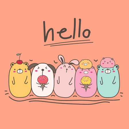 Hand Drawn Cute Animal With Say Hello. Illustration