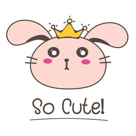 Little Bunny Princess So Cute Background. Vector Illustration. 일러스트