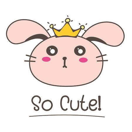 Little Bunny Princess So Cute Background. Vector Illustration. Illustration
