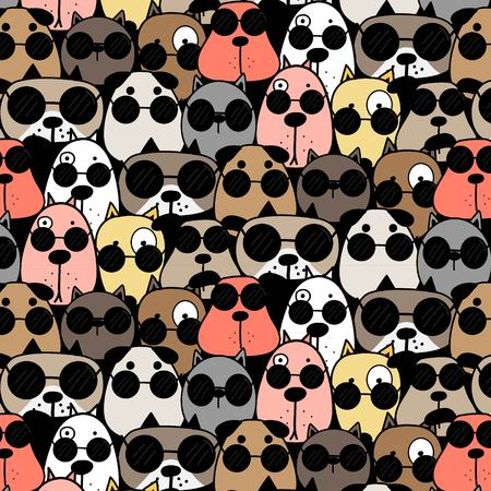 Hand Drawn Cool Dogs Pattern Background. Vector Illustration.