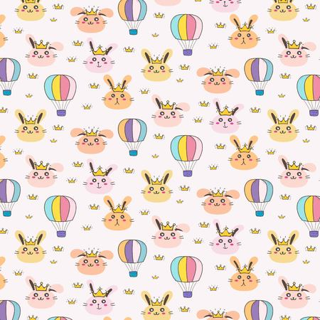 Princess Bunny Pattern Background For Kids. Vector Illustration.