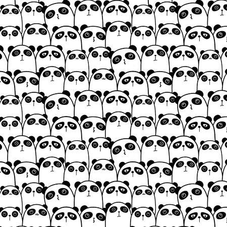 Cute Panda Vector Pattern Background. Vector Illustration.