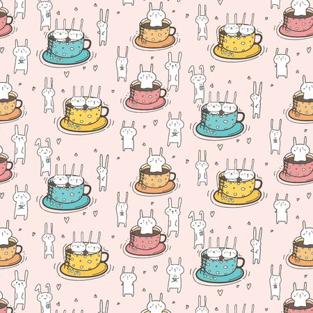 Pattern With Cute Bunnies In The Cup. Vector Illustration. Illustration