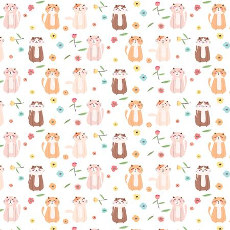 Cute Cat And Floral Pattern Background. Vector Illustration. Illustration