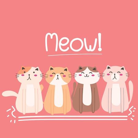 Cute Cat Vector Illustration Background. Illustration
