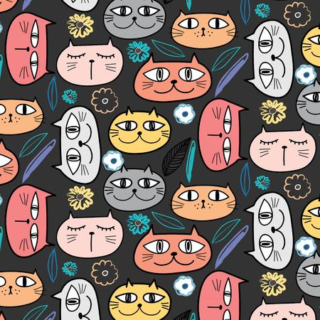 Cute Cat And Floral Pattern Background. Vector Illustration. 일러스트