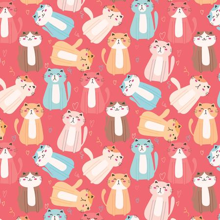 Cute Cat Pattern Background. Vector Illustration.