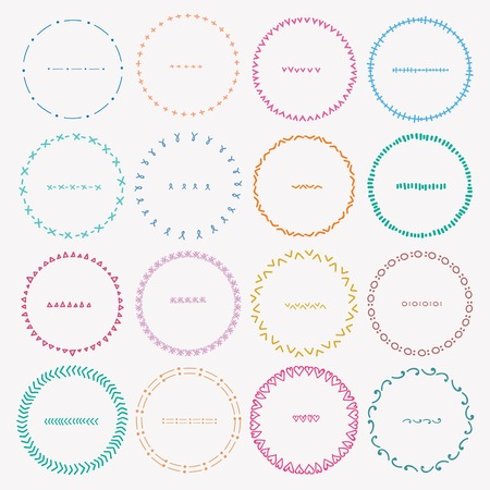 Set Of Colorful Round Frames For Decoration. Handmade Vector Illustration. Ilustrace
