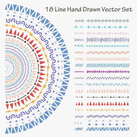 18 Line Hand Drawn Vector Set. Handmade Vector Illustration.