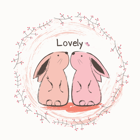 Cute bunny and butterfly. Cartoon hand drawn vector illustration.