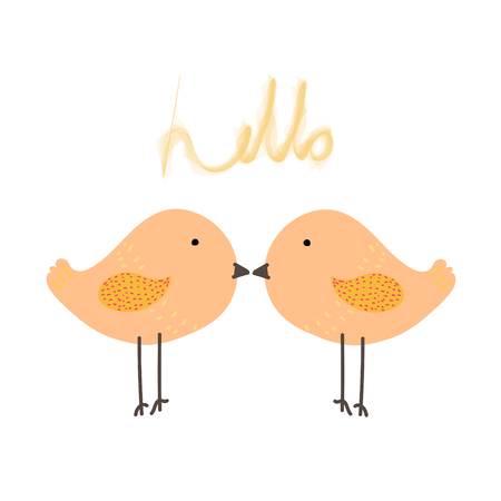 Cute bird with say hello  Baby animal character vector illustration Ilustração