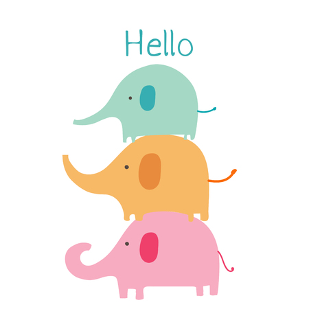 Cute elephant with say hello. Baby animal character vector illustration.