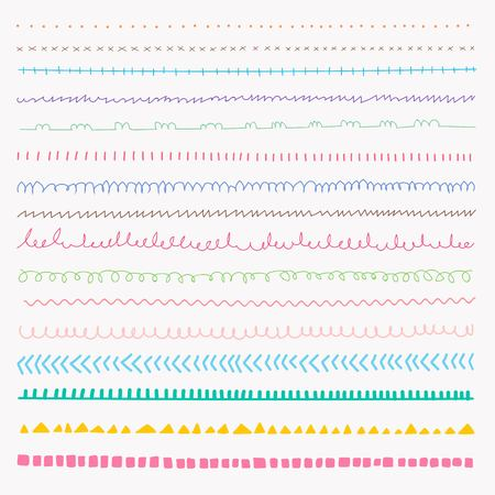 Set Of Colorful line grunge hand drawn textures. 일러스트