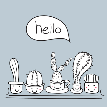 Cute cactus with happy face say hello. illustration set.