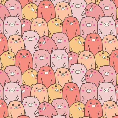 Cute Pig Vector Pattern Background. Handmade  Illustration. Illustration
