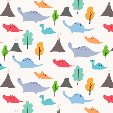 Dinosaur Vector Pattern Background. Illustration.