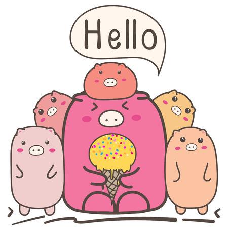 Cute Cartoon Pigs Family.