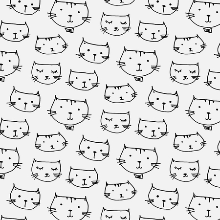 Hand Drawn Cute Cats Pattern Background. Illustration