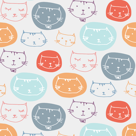 Hand Drawn Cute Cats Pattern Background. Ilustrace
