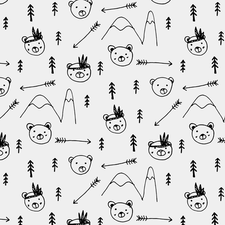 Hand Drawn Cute Bear Tribal Pattern Background. Ilustrace