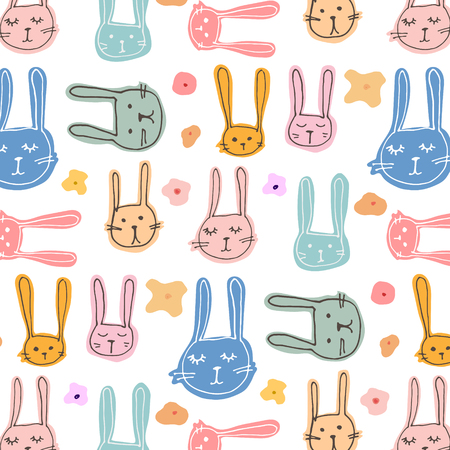 Cute Bunny And Floral Pattern Background. Vector Illustration.