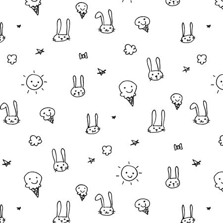 Hand Drawn Funny Pattern Background. Doodle Vector Illustration. Illustration