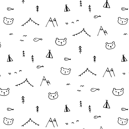 Hand Drawn Funny Pattern Background. Doodle Vector Illustration. Ilustrace