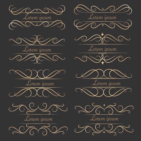 Set Of luxurious Decorative Calligraphic Elements For Decoration. Ilustrace