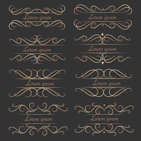 Set Of luxurious Decorative Calligraphic Elements For Decoration. Illustration
