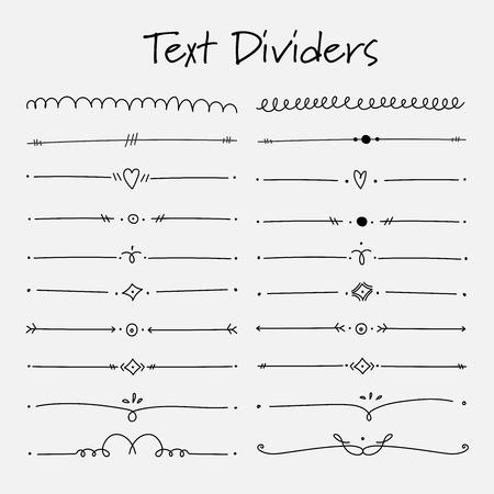 Conjunto de elementos caligráficos de divisores de texto para la decoración. Ilustración de vector hecho a mano. Ilustración de vector
