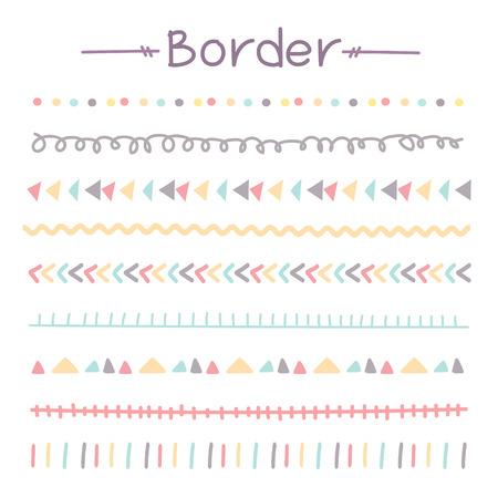 Title: Set Of Colorful Doodle Borders. Vector Illustration. Illustration