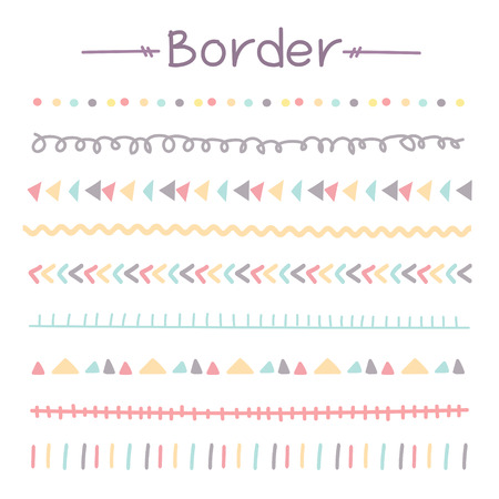 Title: Set Of Colorful Doodle Borders. Vector Illustration. 일러스트